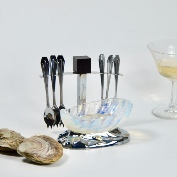 Jacques Adnet Art Deco opalescent oyster bowl spoon set condiment set hors d'oeuvres 1930 1
