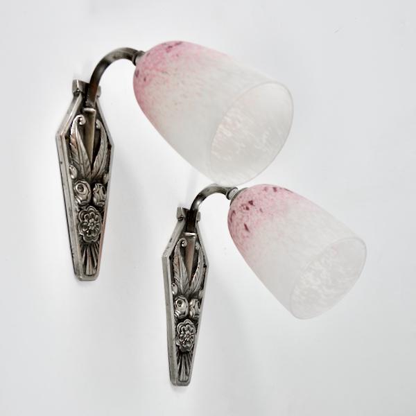 Pair of Art Deco chrome sconces Charles Schneider pate de verre French antique wall lights