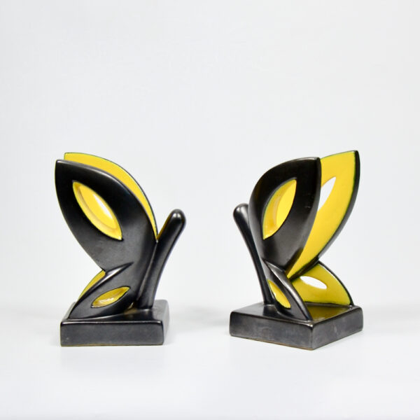 Primavera Art Deco bookends by CAB Bordeaux black yellow butterfly 1930 French ceramic 1