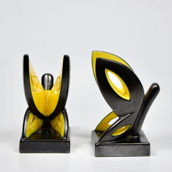 Primavera Art Deco bookends by CAB Bordeaux black yellow butterfly 1930 French ceramic 2