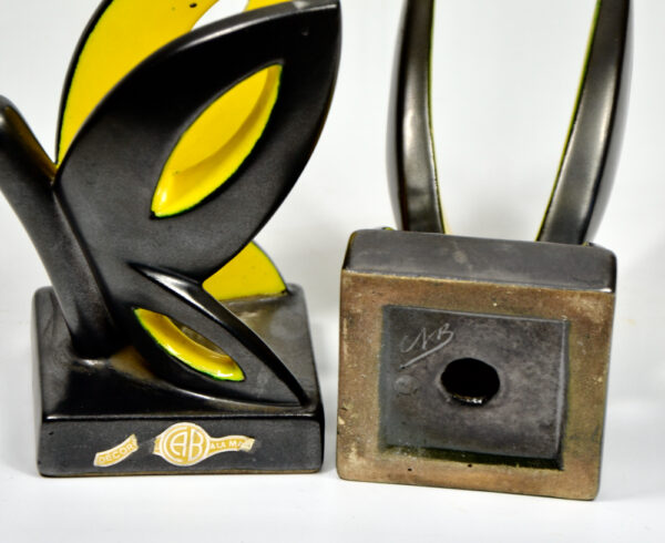 Primavera Art Deco bookends by CAB Bordeaux black yellow butterfly 1930 French ceramic 3
