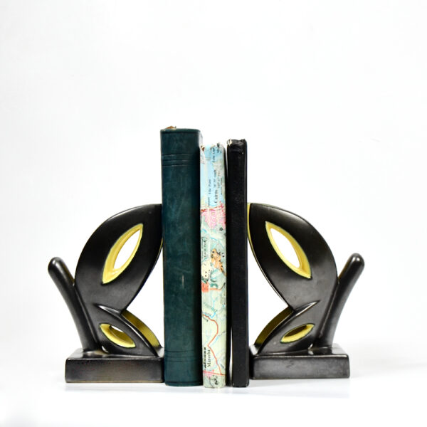 Primavera Art Deco bookends by CAB Bordeaux black yellow butterfly 1930 French ceramic