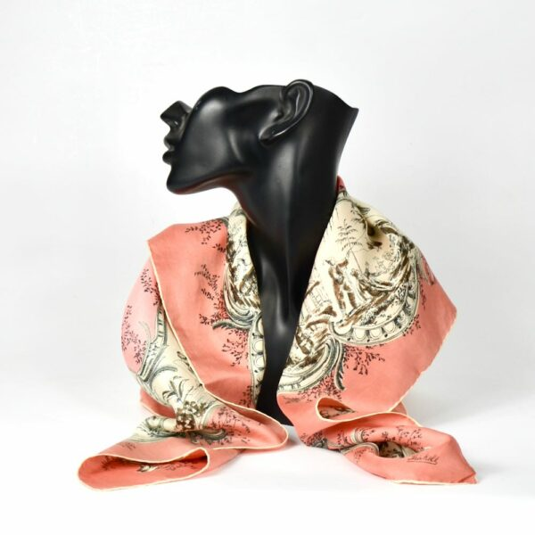 Thirkell London 1950s silk scarf chinoiserie pink 2