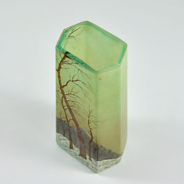 legras glass art deco art nouveau french glass 1920 snow scene enamelled 2