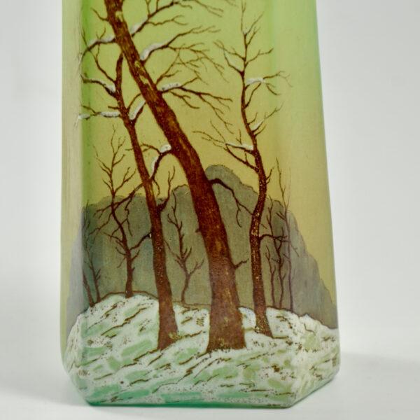legras glass art deco art nouveau french glass 1920 snow scene enamelled 3