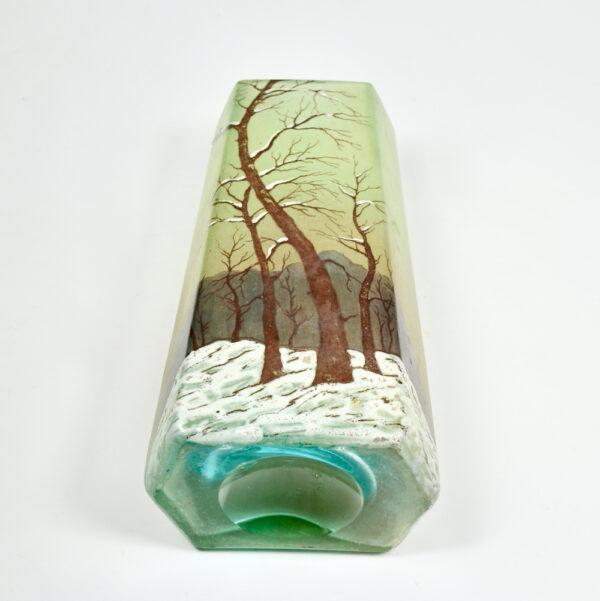 legras glass art deco art nouveau french glass 1920 snow scene enamelled 4
