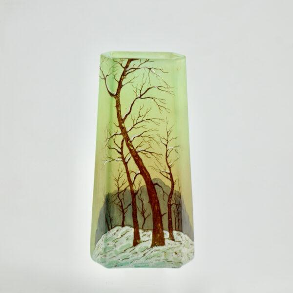 legras glass art deco art nouveau french glass 1920 snow scene enamelled