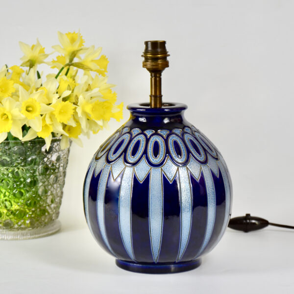 Betschdorf Art Deco globe lamp vase Hubert Krumeich Alsace blue stoneware lamp French pottery 1930 1