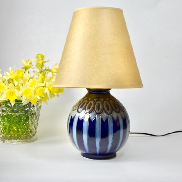 Betschdorf Art Deco globe lamp vase Hubert Krumeich Alsace blue stoneware lamp French pottery 1930 6
