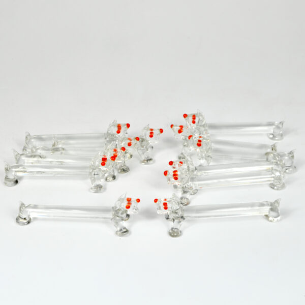 art deco animal knife rests set of 12 bimini style glass hand made scottie dog 1930s 2