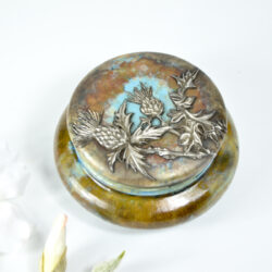 early pierrefonds pottery bonbonniere trinket box with thistle antique glazed stoneware french ceramic 1912 7