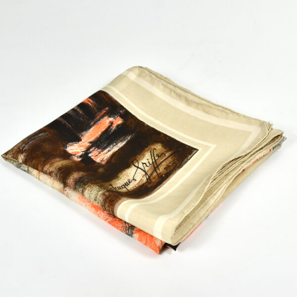 jacques griffe 1950s picture scarf french couture orange black 1950s 1