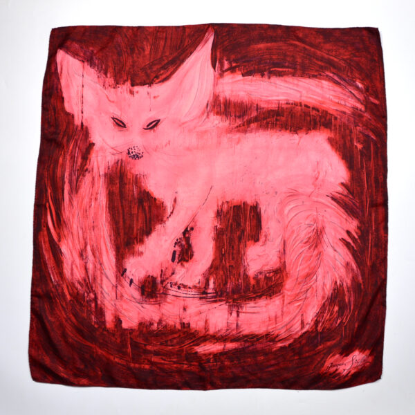 jacques griffe fox silk scarf vintage french designer couture red pink 1960