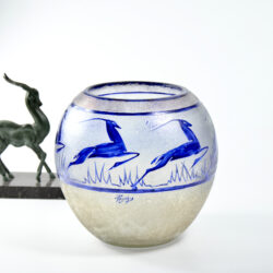 jean-Simon Peynaud art deco globe vase leaping gazelles 1920s french glass cobalt blue 1930s 1
