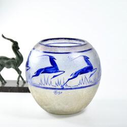 jean-Simon Peynaud art deco globe vase leaping gazelles 1920s french glass cobalt blue 1930s 1