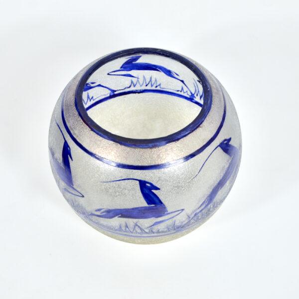 jean-Simon Peynaud art deco globe vase leaping gazelles 1920s french glass cobalt blue 1930s 3