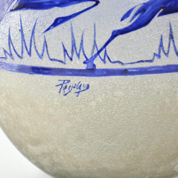 jean-Simon Peynaud art deco globe vase leaping gazelles 1920s french glass cobalt blue 1930s 6