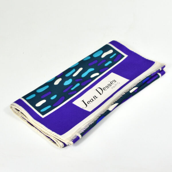 jean dessès french designer silk scarf 1960s paris couture purple green 3