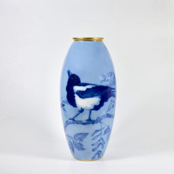 large L Chanbon et fils Limoges vase bleu de four 1930s art deco porcelain vase with magpies 2 (2)