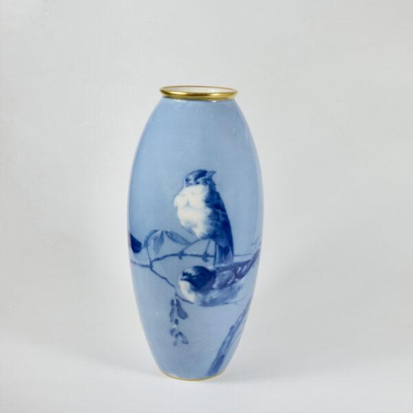 large L Chanbon et fils Limoges vase bleu de four 1930s art deco porcelain vase with magpies 4 (3)