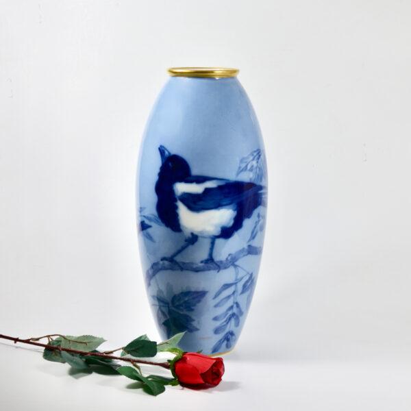 large L Chanbon et fils Limoges vase bleu de four 1930s art deco porcelain vase with magpies