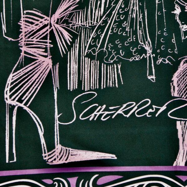 jean-louis schemer silk scarf sketch fashion models bordeaux purple french couture scarf