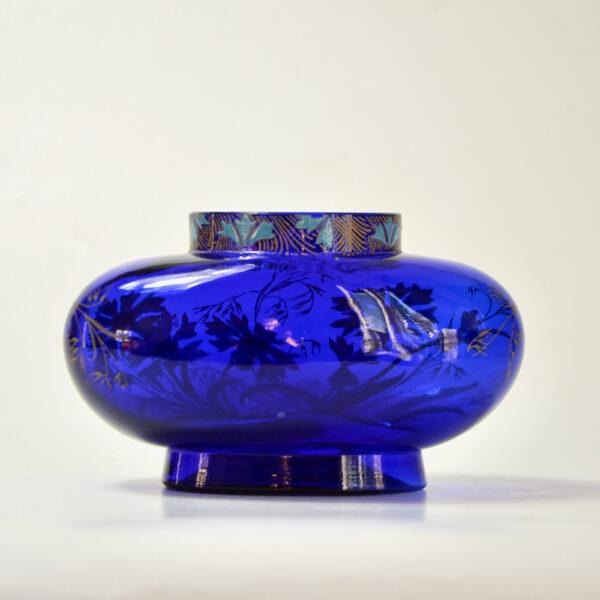 Legras French art nouveau vase cobalt blue enamelled glass 1900 1