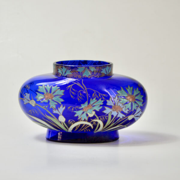 Legras French art nouveau vase cobalt blue enamelled glass 1900