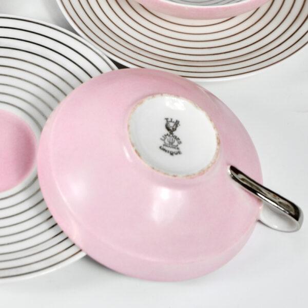 Limoges Art Deco tea cups saucers pink silver 1930 TLB Touze Lemaitre Blancher Primavera French porcelain tete a tete 2