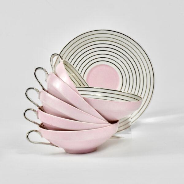 Limoges Art Deco tea cups saucers pink silver 1930 TLB Touze Lemaitre Blancher Primavera French porcelain tete a tete 3