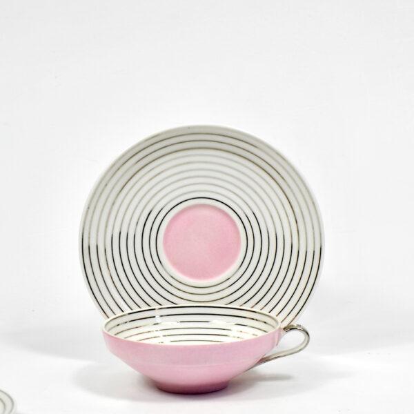 Limoges Art Deco tea cups saucers pink silver 1930 TLB Touze Lemaitre Blancher Primavera French porcelain tete a tete 6