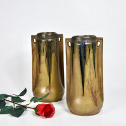 Pair of large Denbac vases art deco stoneware French pottery drip glaze 1930s
