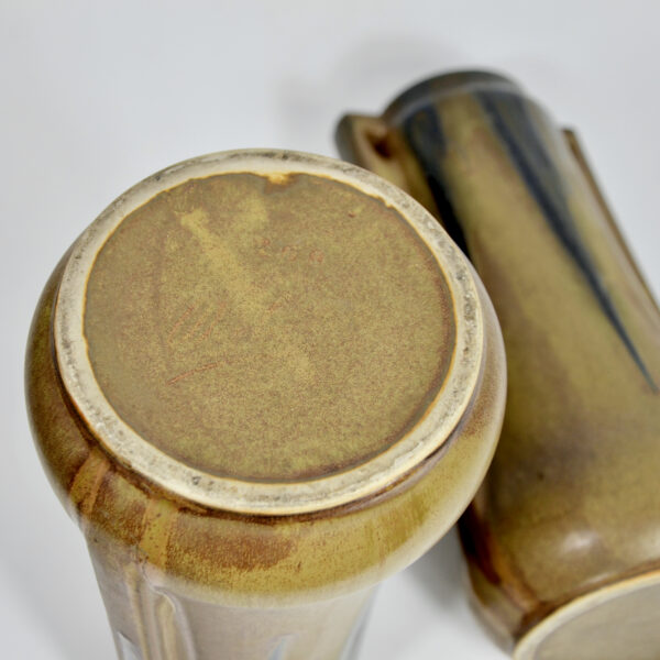 Pair of large Denbac vases art deco stoneware French pottery drip glaze 1930s 5 (1)