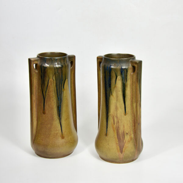 Pair of large Denbac vases art deco stoneware French pottery drip glaze 1930s 5
