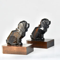 art deco macassar book ends dogs pair of basset hounds 1930s ebony figural cubist bookends 1