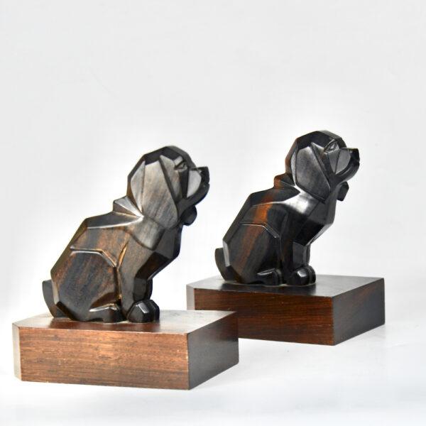 art deco macassar book ends dogs pair of basset hounds 1930s ebony figural cubist bookends 1