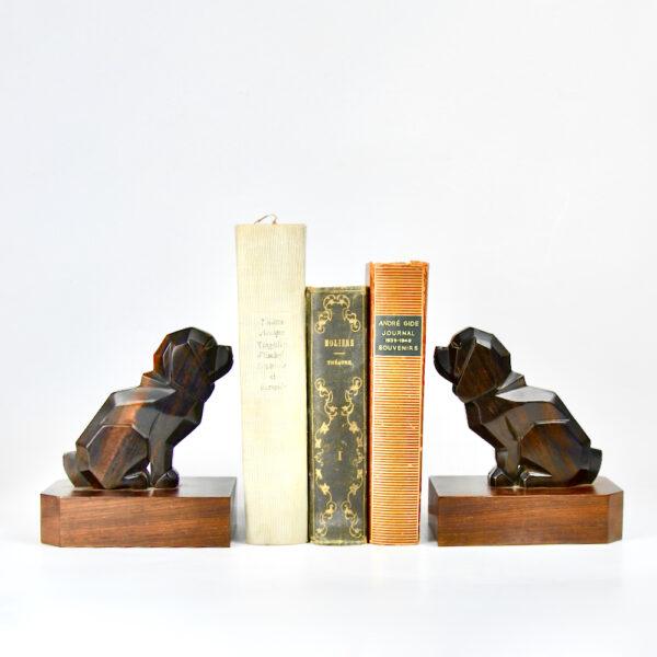 art deco macassar book ends dogs pair of basset hounds 1930s ebony figural cubist bookends 3