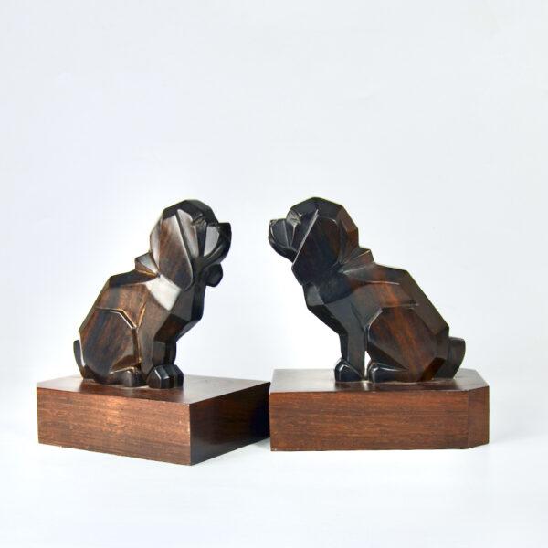 art deco macassar book ends dogs pair of basset hounds 1930s ebony figural cubist bookends