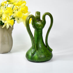 belgian-art-nouveau-vase-with-3-handles-c1900-art-pottery-green-vase 4