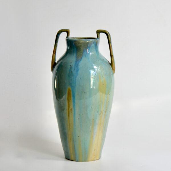 jean langlade glazed stoneware art nouveau baluster vase handles French ceramist 1900s 1