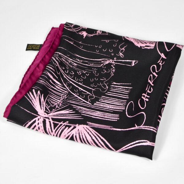 jean louis scherrer vintage silk scarf purple wine fashion models French designer scarf 1