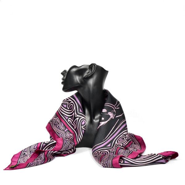 jean louis scherrer vintage silk scarf purple wine fashion models French designer scarf