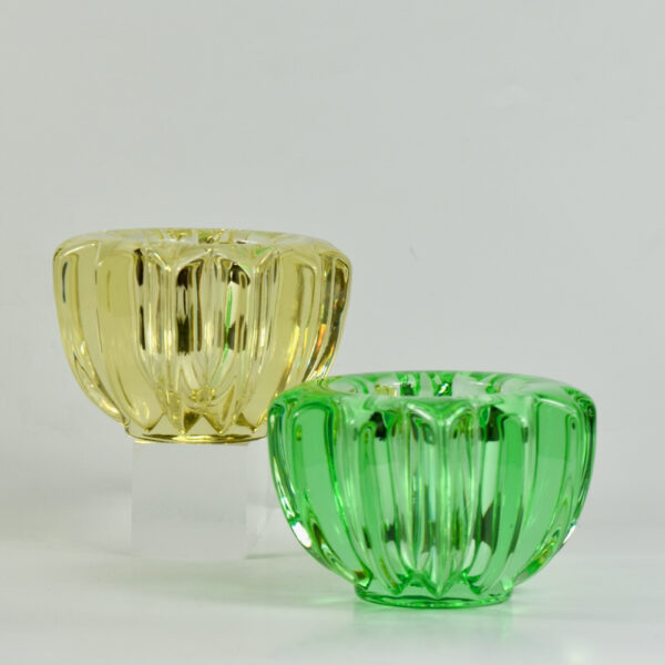 pair pierre d'avesn green yellow glass candle holders votive bowls art deco 1 1