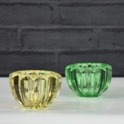 pair pierre d'avesn green yellow glass candle holders votive bowls art deco 1