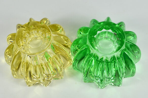 pair pierre d'avesn green yellow glass candle holders votive bowls art deco 1 3