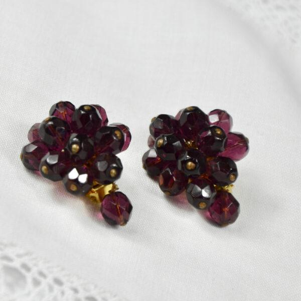 1950s faux garnet cluster clip earrings 1