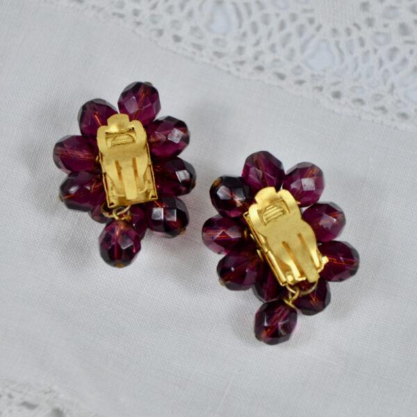 1950s faux garnet cluster clip earrings 2