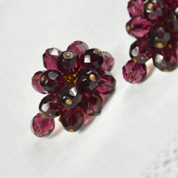 1950s faux garnet cluster clip earrings
