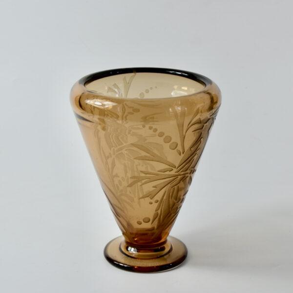 Andre Delatte art deco vase French acid etched glass signed 1925 2