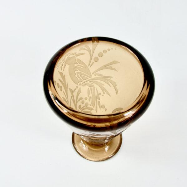 Andre Delatte art deco vase French acid etched glass signed 1925 4
